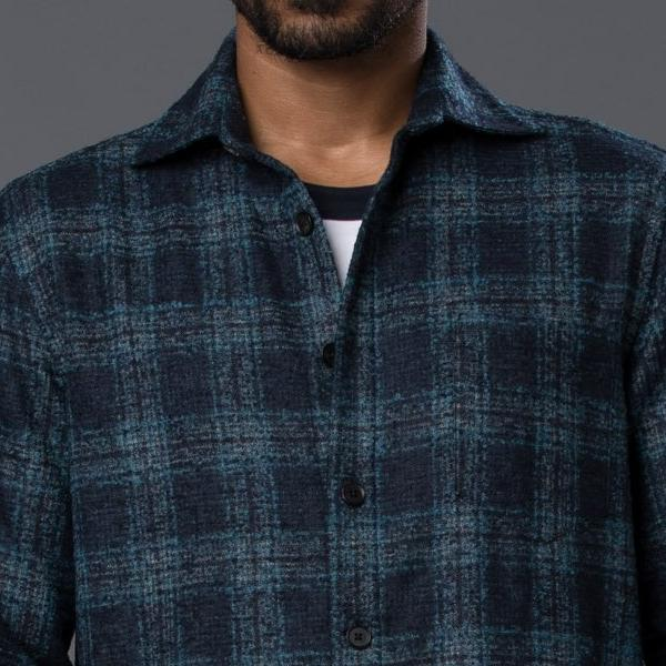 Deveaux Navy & Green Wool Plaid Overshirt