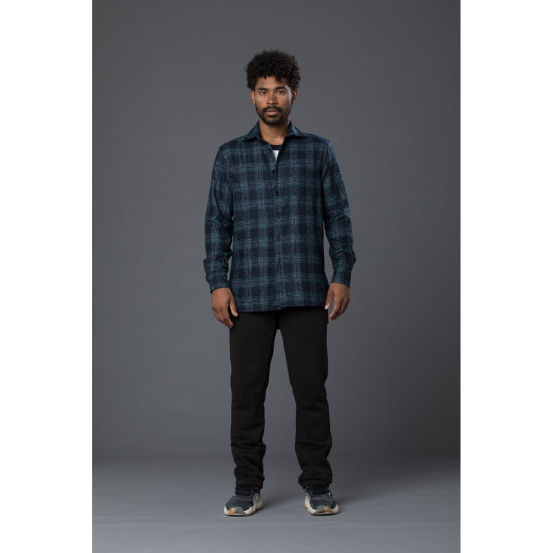 Deveaux New York Wool Plaid Overshirt
