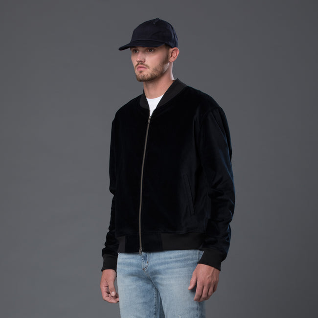 s.k. manor hill Navy Velvet Bomber Jacket