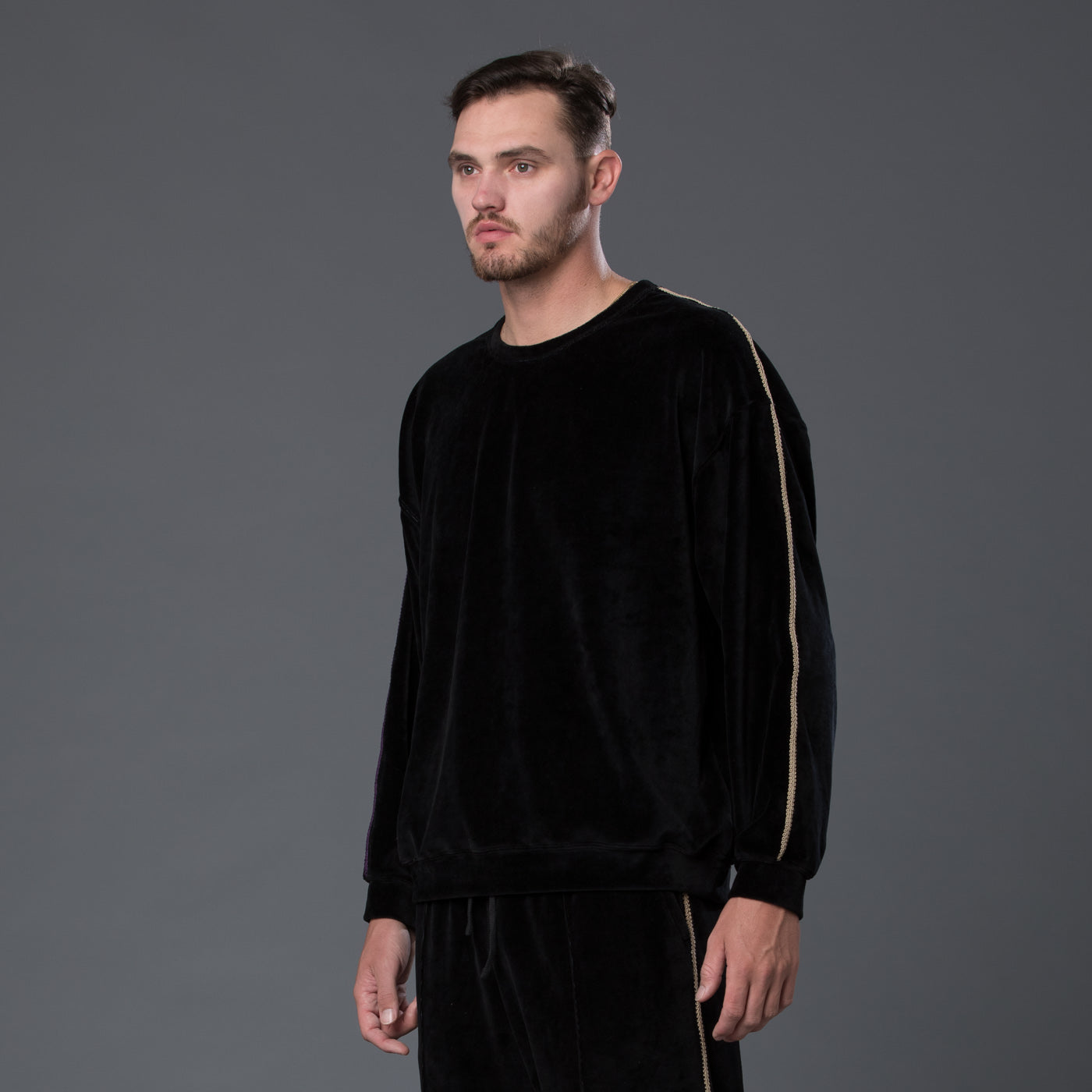 s.k. manor hill black braided velour sweatshirt