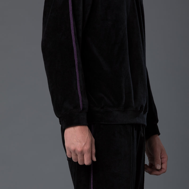 s.k. manor hill braided velour sweatshirt