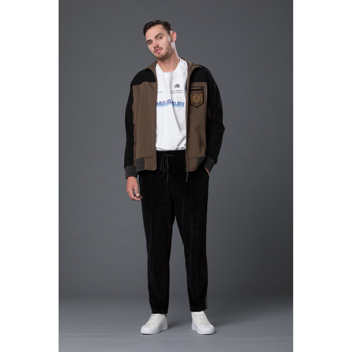 Robert Geller Clay and Black Track Jacket