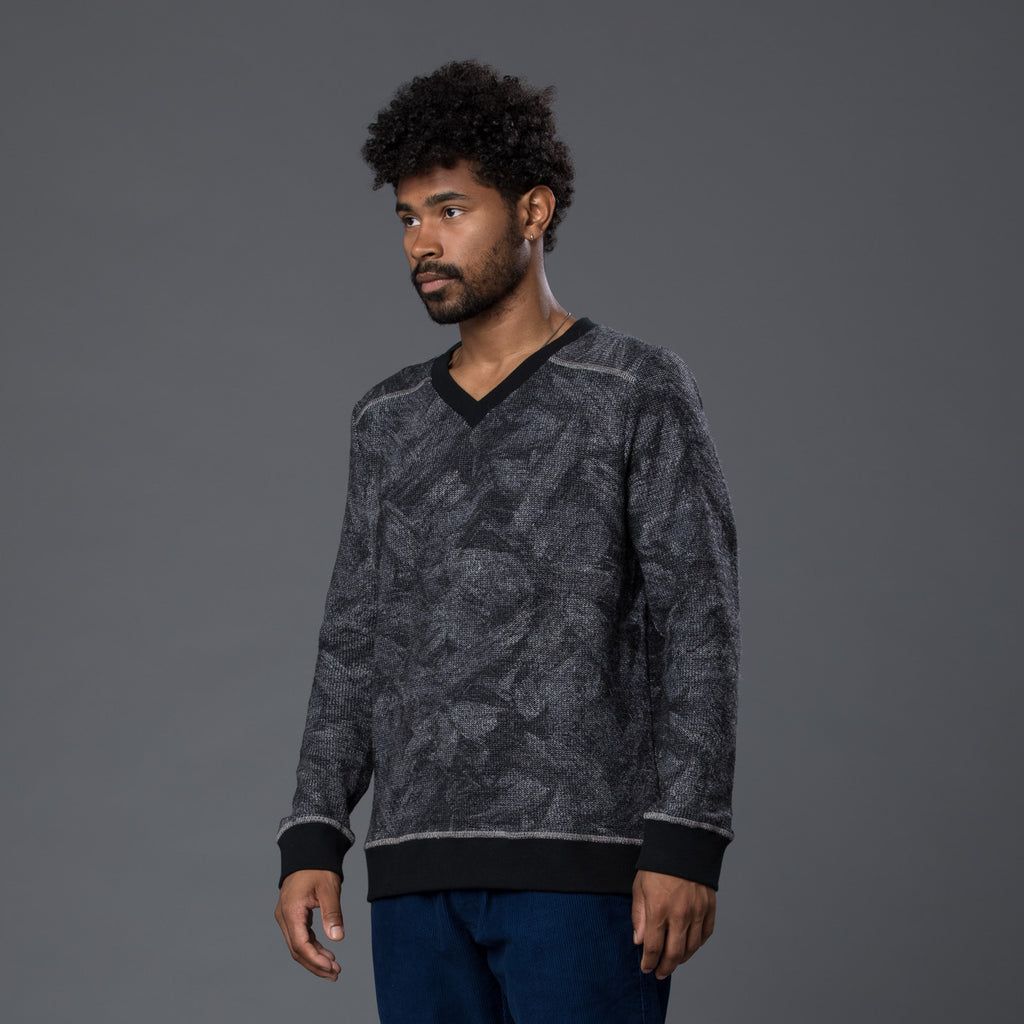 Thaddeus O'Neil Printed Blue Sweater