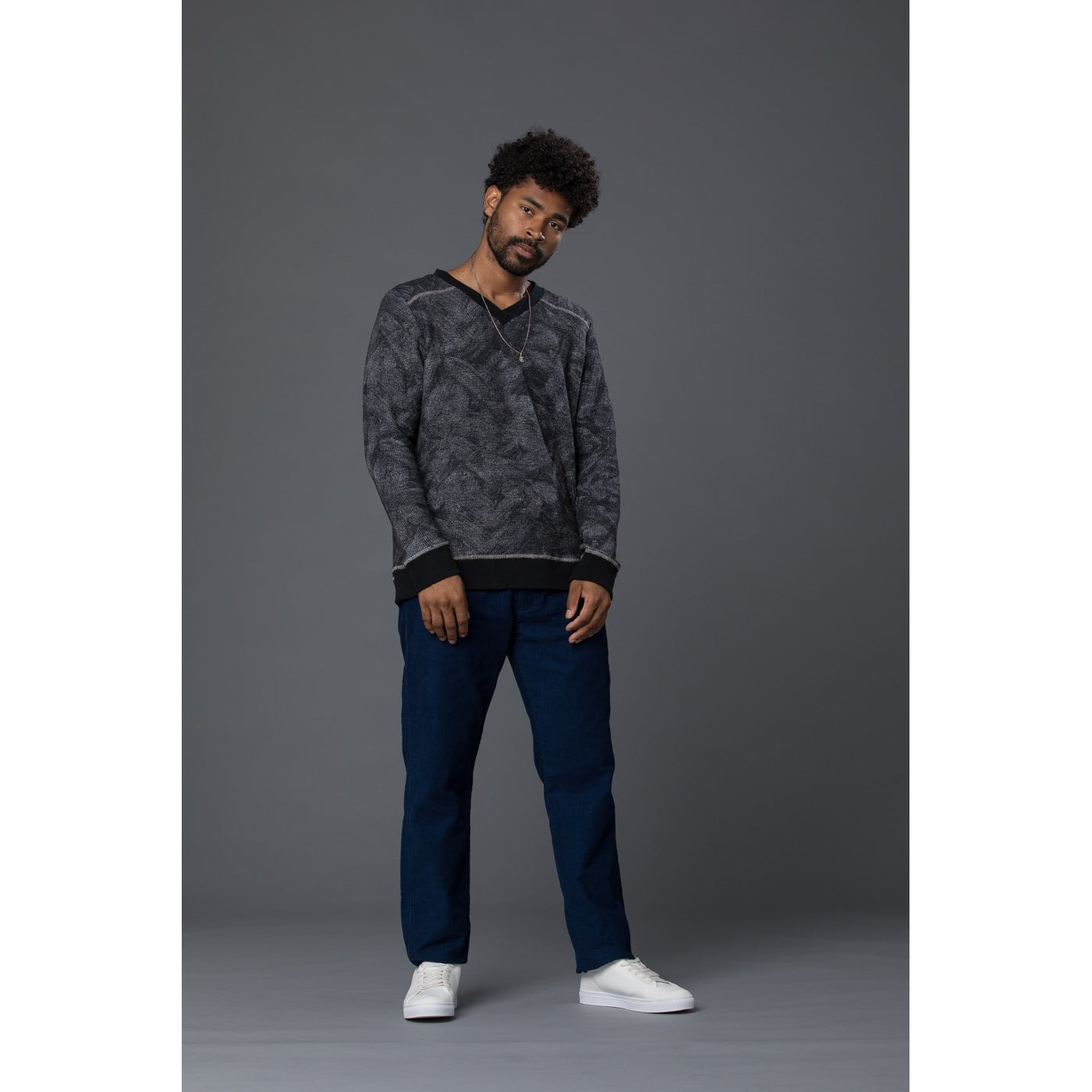 Thaddeus O'Neil Textured Navy Pullover Sweater