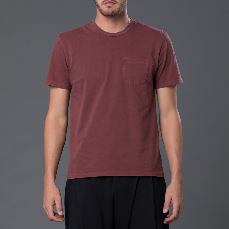 Burgundy Garment Dyed Pocket Tee
