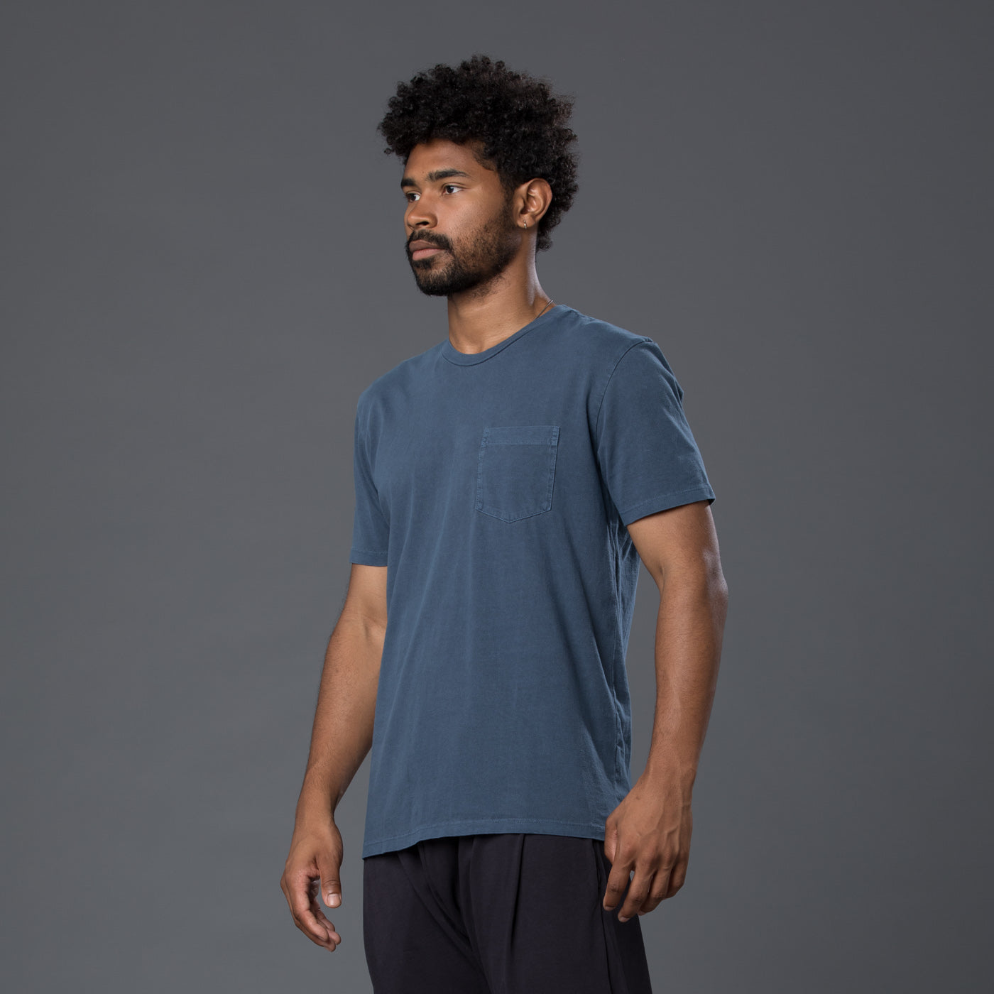 Dark Navy Garment Dyed Pocket Tee
