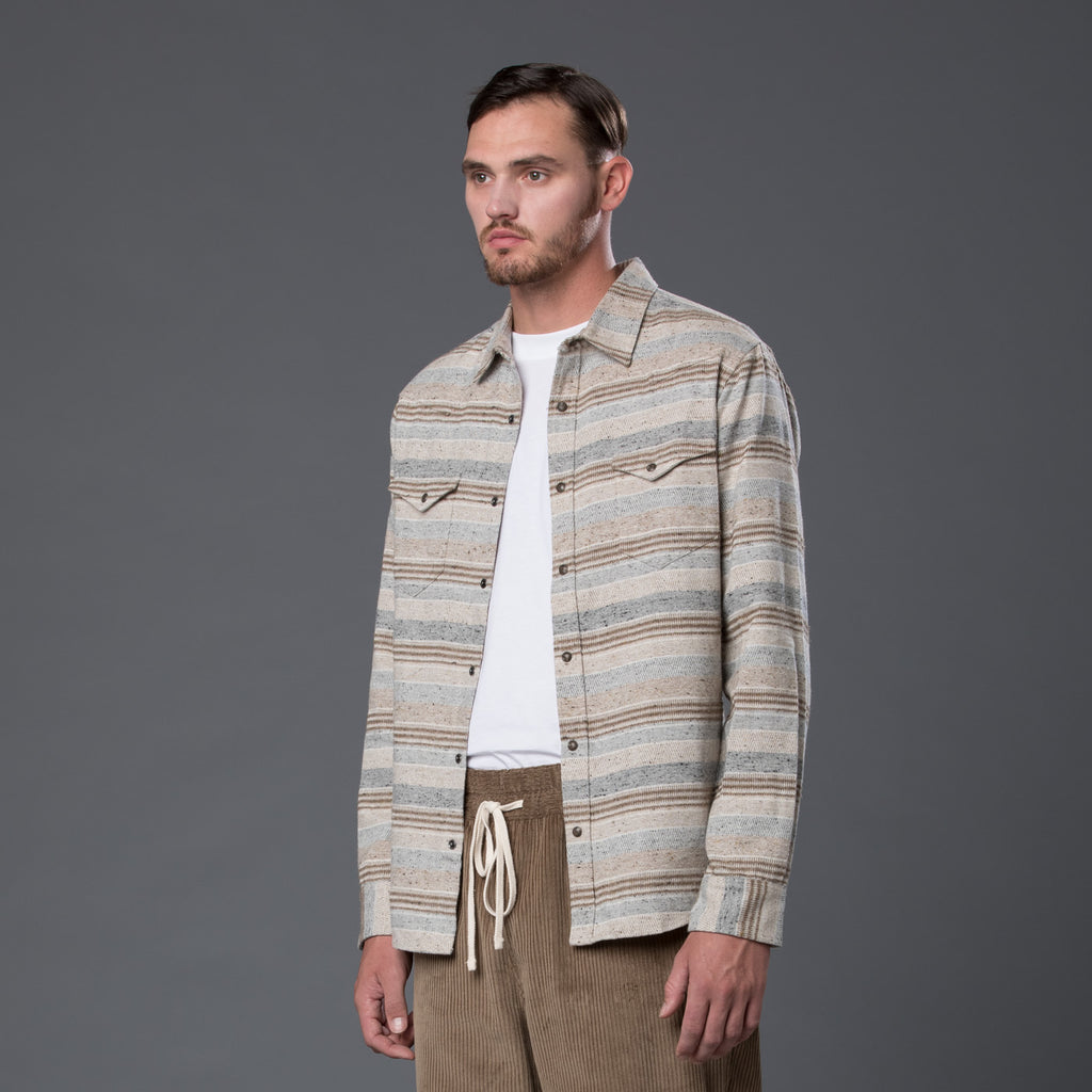Krammer and Stoudt Cream Stripe Western Shirt