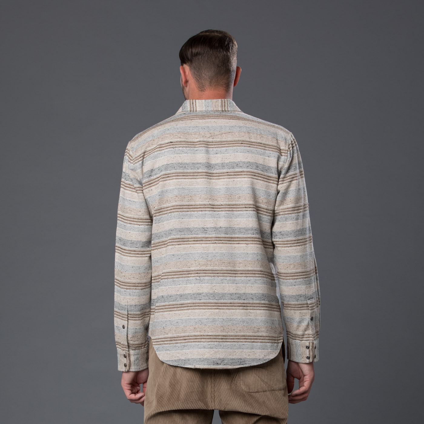 Krammer and Stoudt Cream Stripe Long Sleeve Shirt