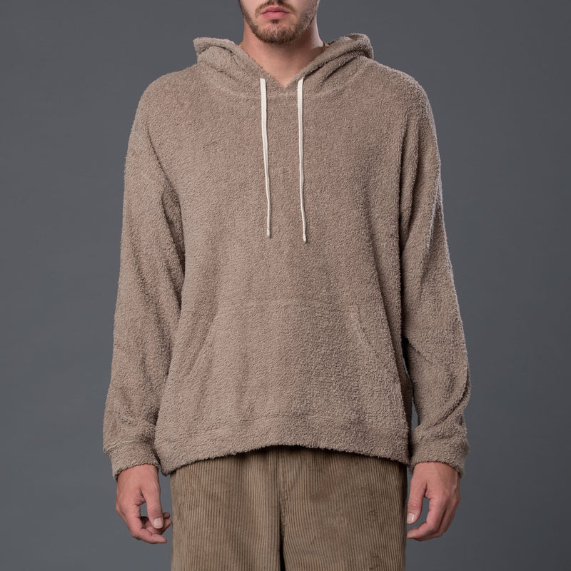 s.k. manor hill Taupe Reversible Pile Hoodie