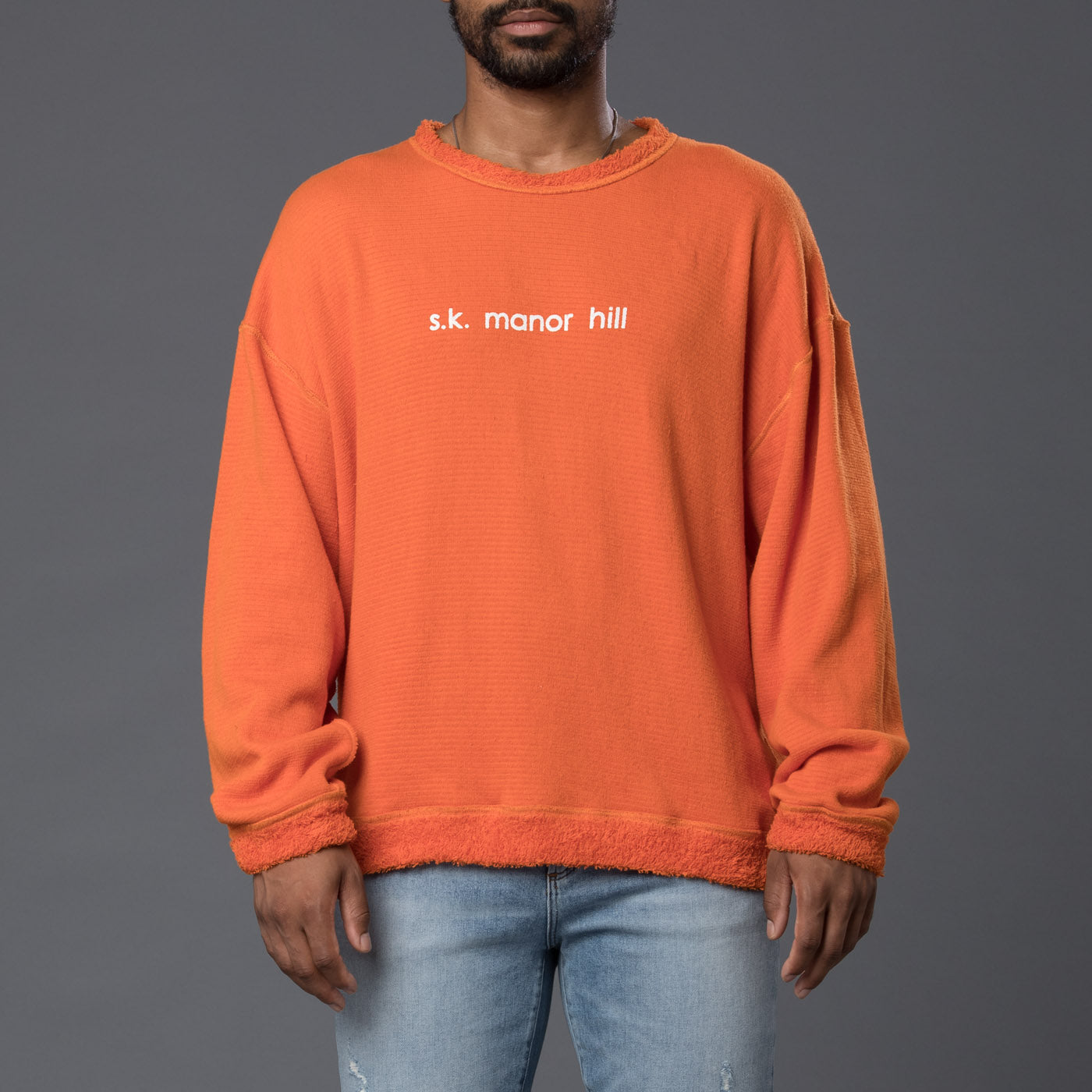 s.k. manor hill Orange Reversible Pile Sweatshirt
