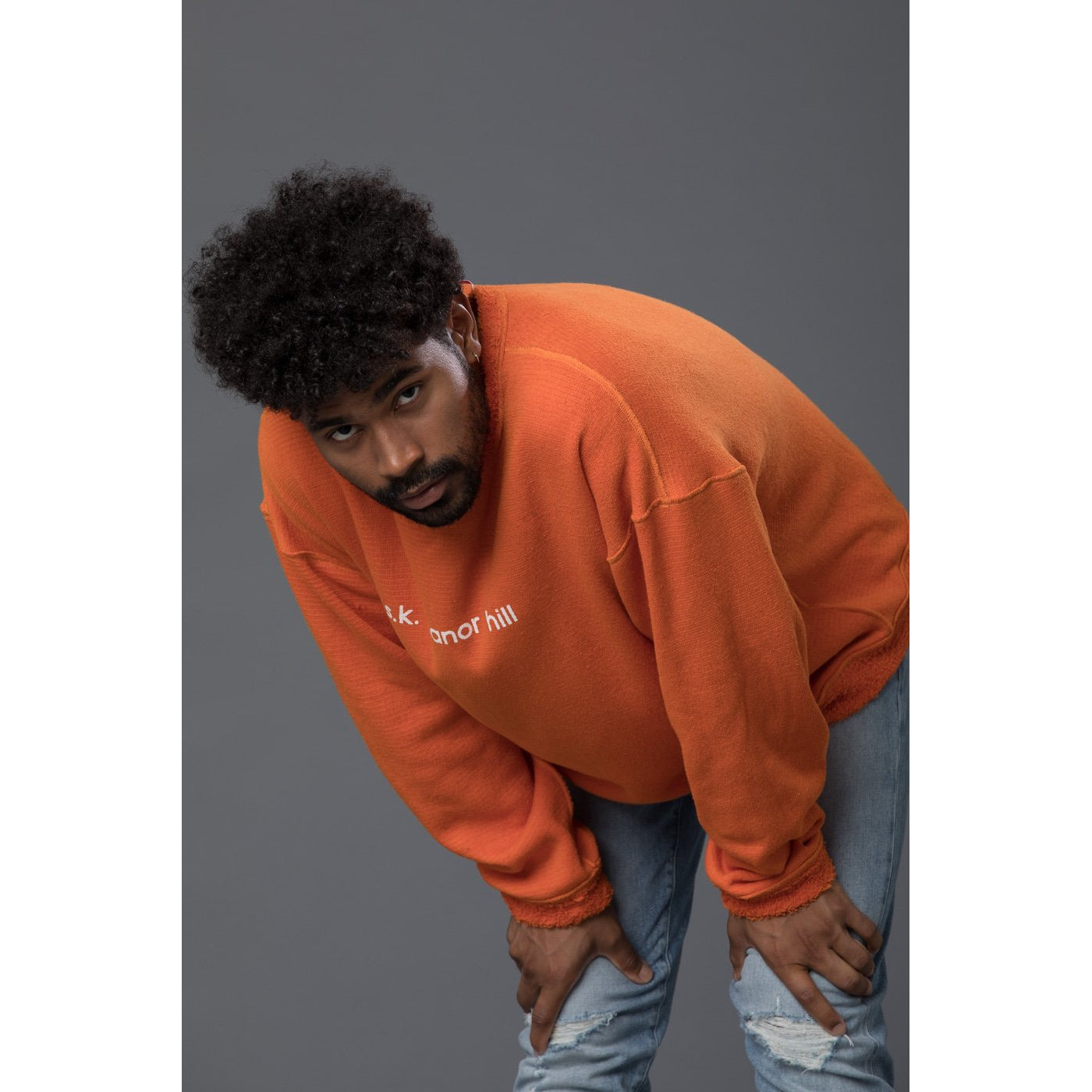 s.k. manor hill Reversible Pile Crewneck Sweatshirt