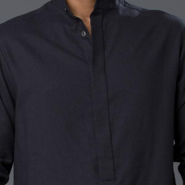 Deveaux Black Flannel Tunic Shirt