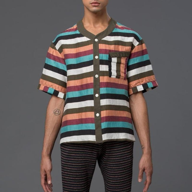 Thaddeus O'Neil Striped Beach Shirt