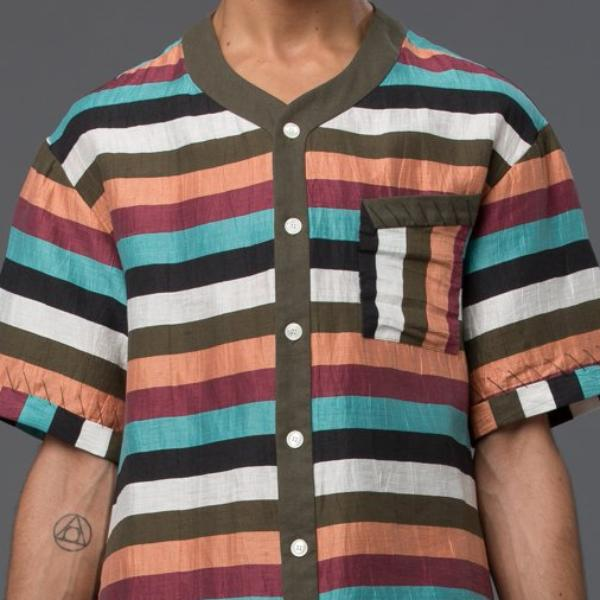 Thaddeus O'Neil Striped Button Down Shirt
