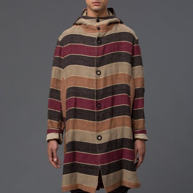 Thaddeus O'Neil Striped Hooded Trench