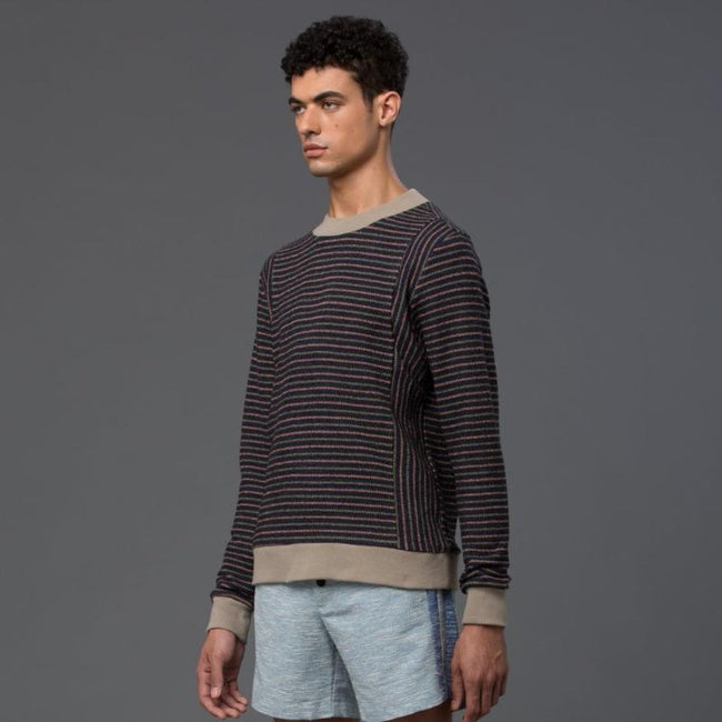 Thaddeus O'Neil Stripe Crewneck Sweater