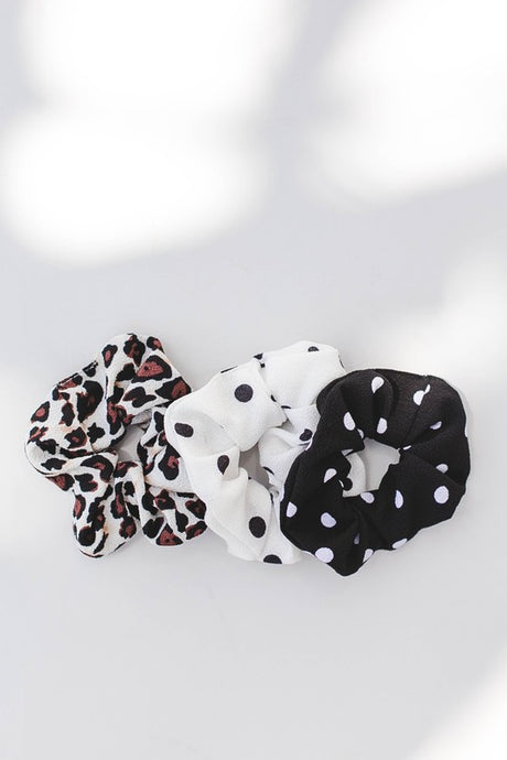 Hair accessories, leopard print scrunchie, black and white polka dot scrunchie set.
