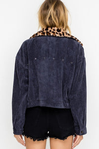 Women's stylish corduroy jacket in navy blue, with a detachable leopard print collar.