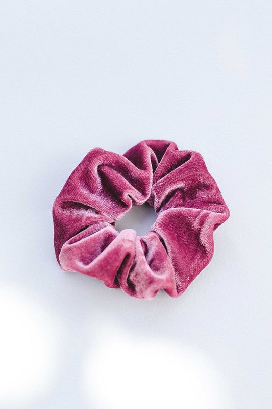 Hair accessory scrunchie in velvet cherry color.