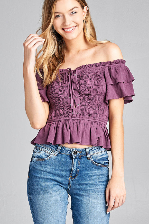 Women's purple, smocked, crop off the shoulder top with lace up detail.