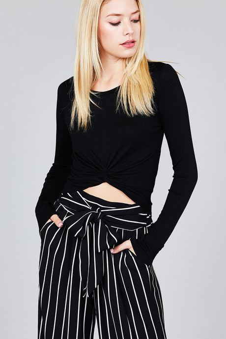 Soft, long sleeve crop top that is the perfect layering piece.