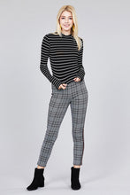 Load image into Gallery viewer, Women's mock neck, striped crop long sleeve in black and white.