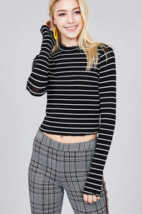 Women's mock neck, striped crop long sleeve in black and white.