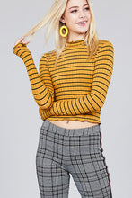 Load image into Gallery viewer, Women's mock neck, striped crop long sleeve in black and mustard.