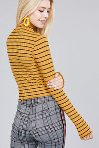 Women's mock neck, striped crop long sleeve in black and mustard.