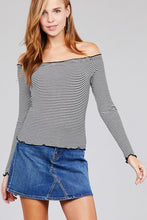 Load image into Gallery viewer, Women's lettuce edge, striped, off the shoulder, long sleeve top in black and white.