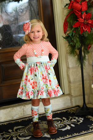 Pretty in Poinsettias - SBC Scoop Back Ruffle Dress Sash that Ties