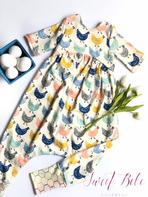 Organic knit Chicken romper