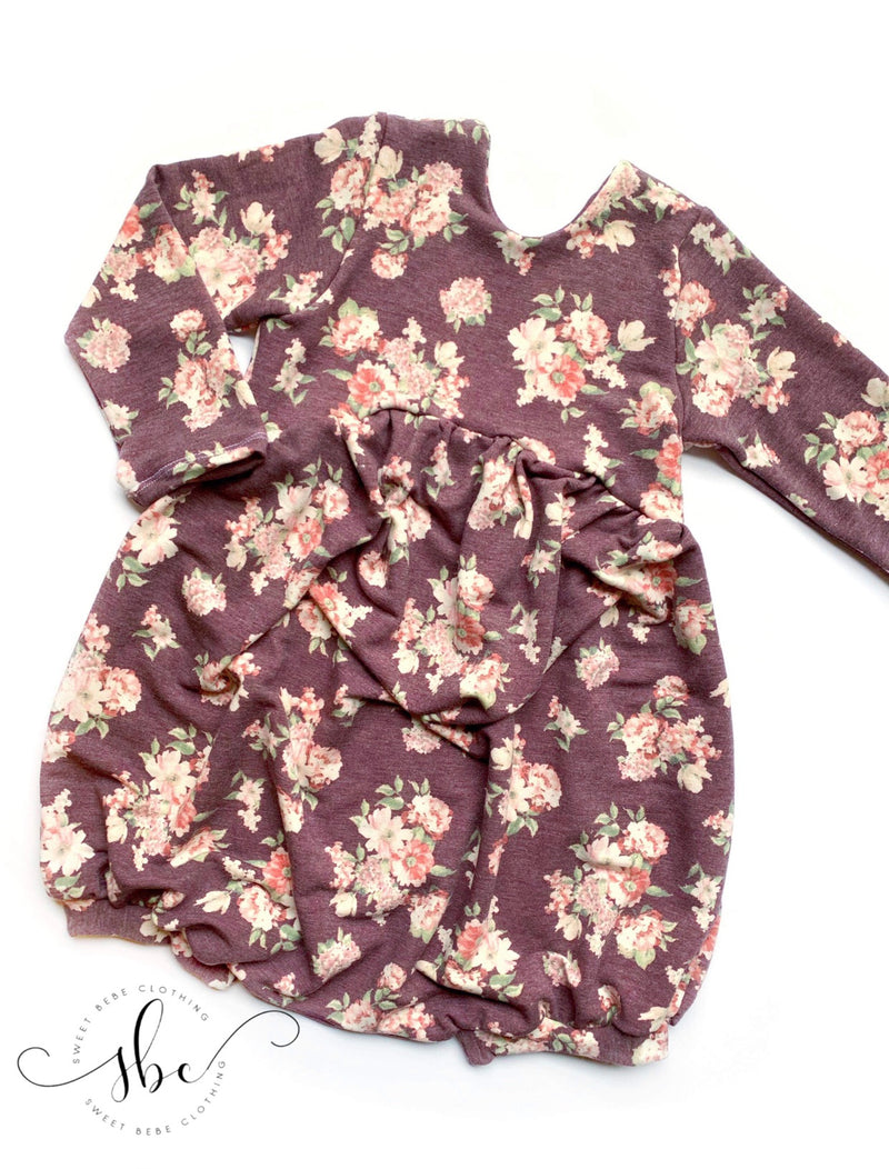 Purple Fall Floral - Romper Bubble Length