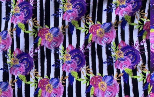 Purple Floral with Stripes - Knee High Socks