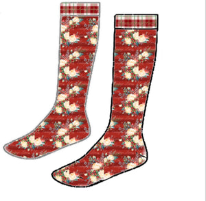 Holiday Florals - Knee High Socks