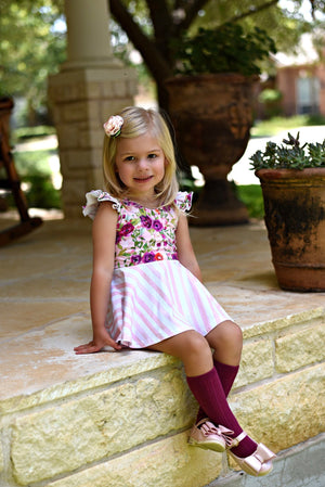 Winter Floral Princess Aspen with Stripes - SBC Dress