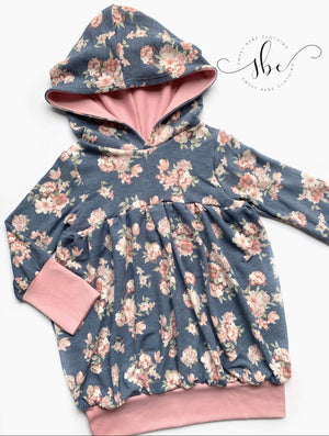 Blue Fall Floral - SBC Bubble Tunic Length with Hood