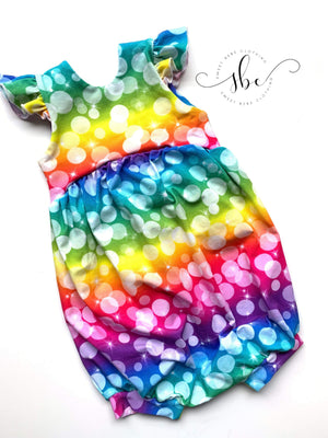 Rainbow Bubbles - Shorts Length Romper