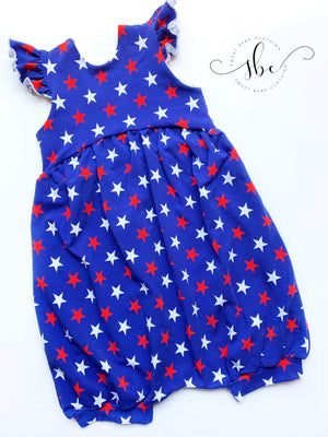 RWB Stars - Romper Bubble Length