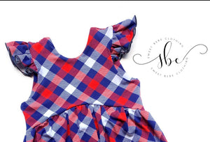 RWB Plaid - Bow Back Tunic Length