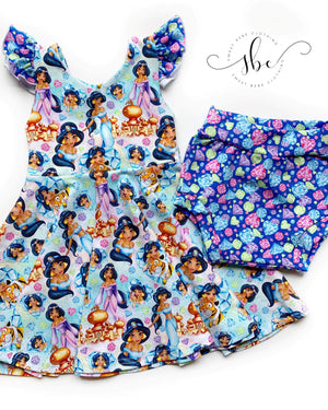 Jasmine - Bow Back Tunic Length - Princess Toss Print