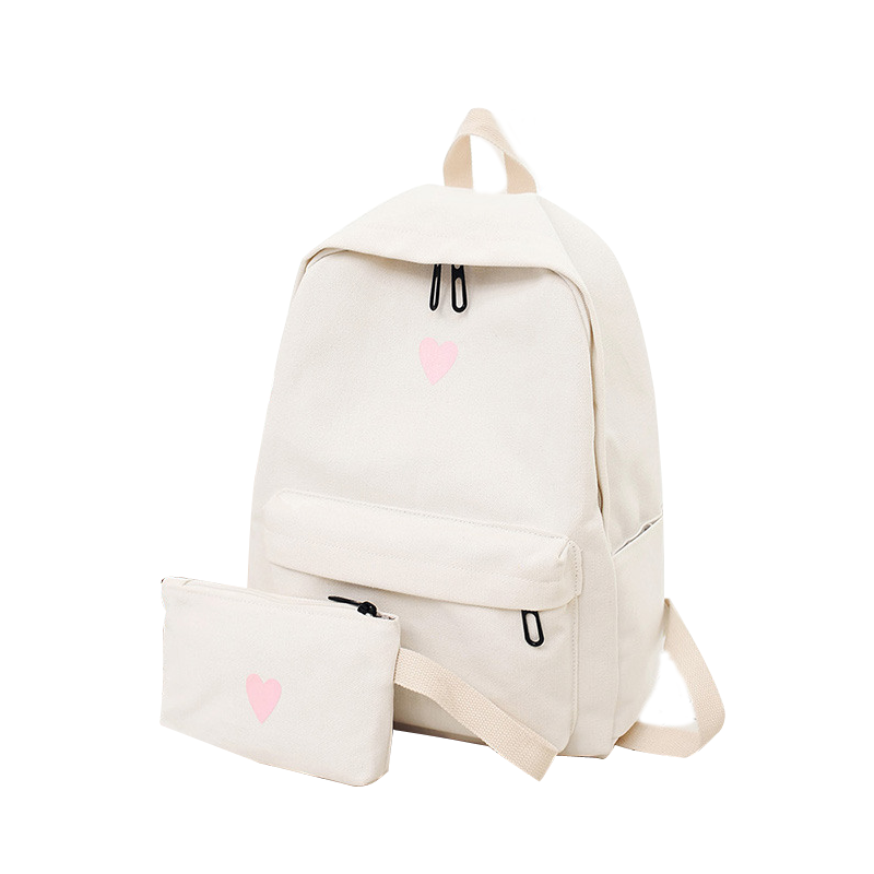Canvas Heart Printed Laptop Backpack