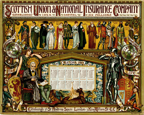 CRANE, Walter // Calendar, 1889. (Edinburgh: Scottish Union & National Insurance Company)