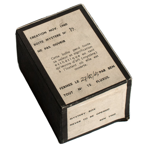 (FLUXUS) Vautier, Ben // Boite mystere no. [89]. Mystery box. Never to be opened. (Nice, 1960-1965)