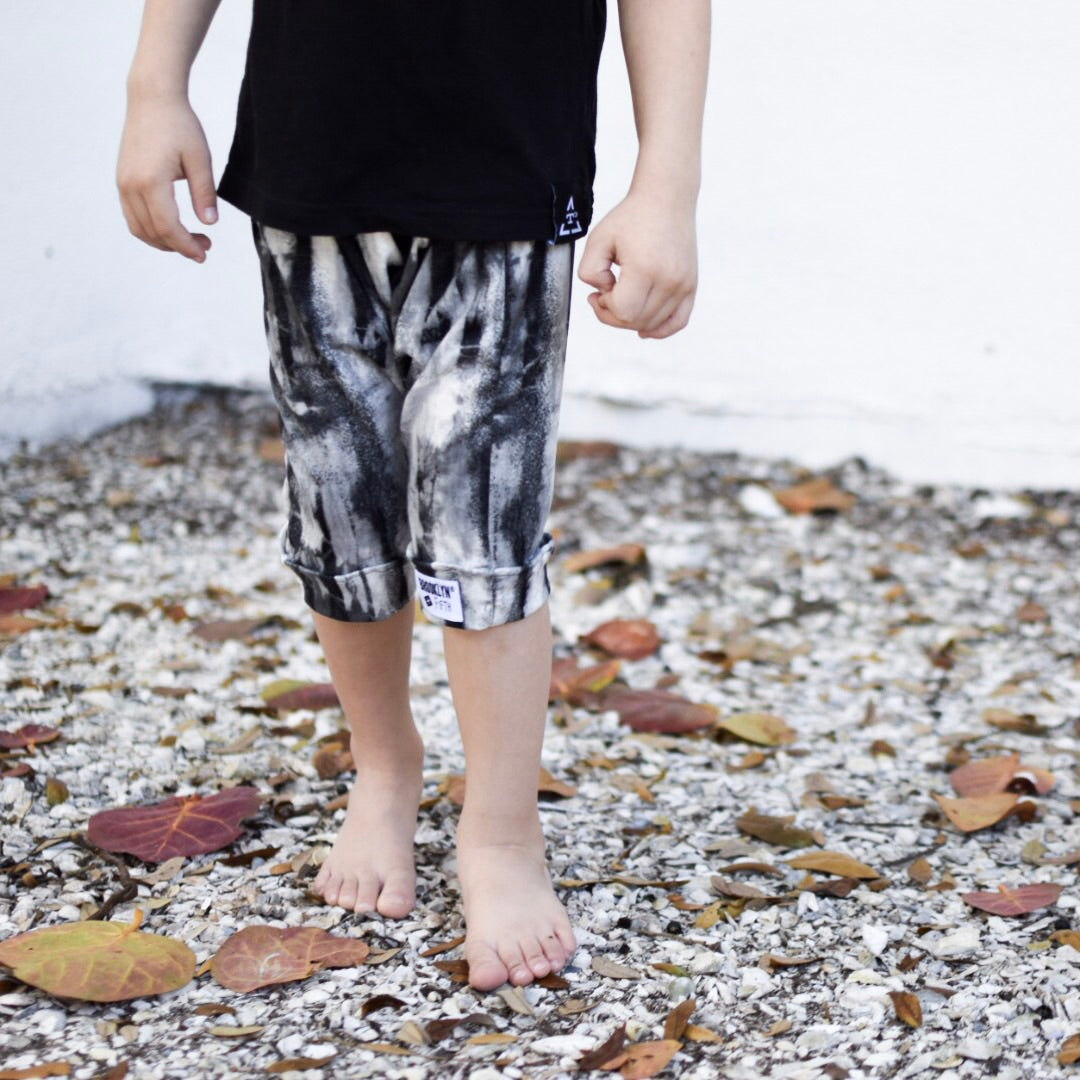 Brooklyn + Fifth Monochrome + Tie Dye = Brooklyn+Fifth Summer Vibes all the way!  Brooklyn + Fifth Harem Shorts trendy, summer kids shorts, toddler shorts, infant shorts, elastic waistband shorts ,comfy summer shorts.