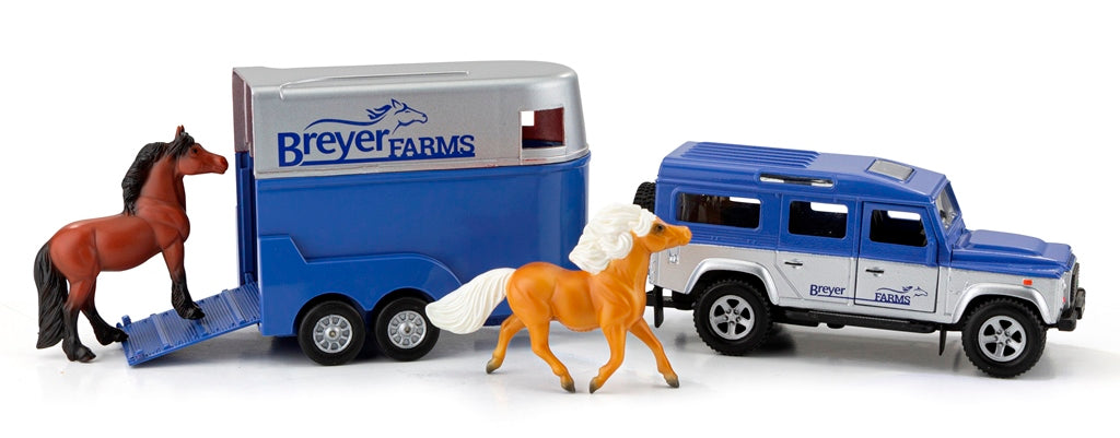 Breyer Stablemates Farms Land Rover & Tag-A-Long Trailer