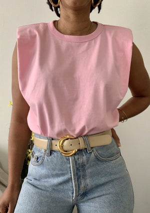 Baby Pink Padded Shoulder T-Shirt