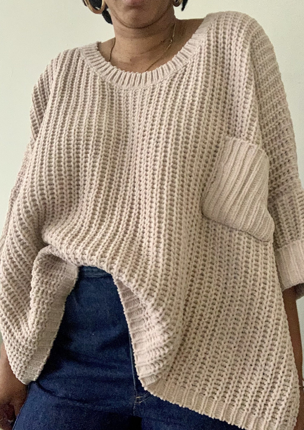Beige Oversized Pullover Sweater