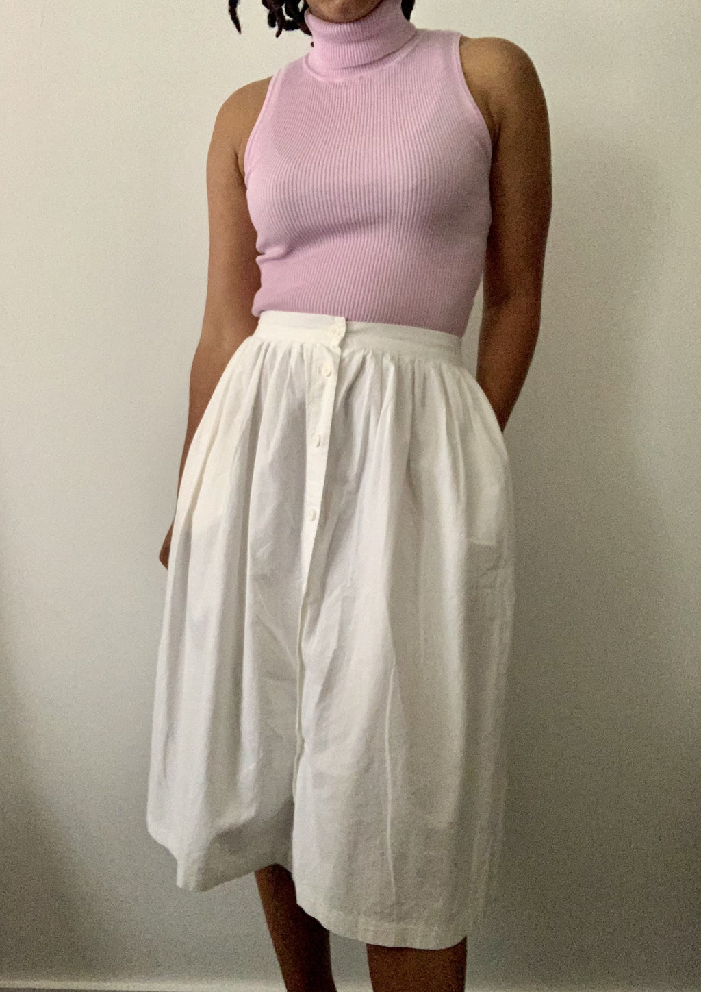 Vintage White Central Button Skirt