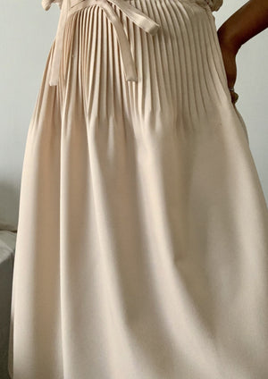Vintage Pale Pink Pleated A-Line Skirt